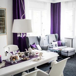 Esempio di un soggiorno eclettico di medie dimensioni e aperto con pareti bianche, moquette e pavimento nero