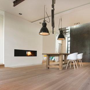 ミュンヘンの大きいコンテンポラリースタイルのおしゃれなリビングロフト (フォーマル、白い壁、無垢フローリング、薪ストーブ、漆喰の暖炉まわり、テレビなし、ベージュの床) の写真