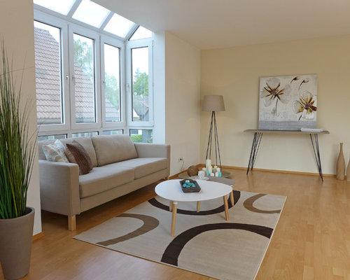 Wohnzimmer mit beiger Wandfarbe - Ideen, Design, Bilder & Beispiele