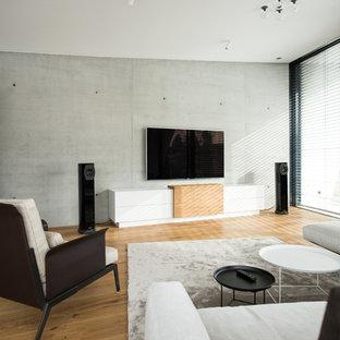 Mittelgroßes Modernes Wohnzimmer mit grauer Wandfarbe, braunem Holzboden, Kaminofen, Wand-TV und braunem Boden in Stuttgart