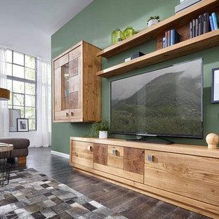 Living room - huge traditional formal and open concept linoleum floor and gray floor living room idea in Other with beige walls