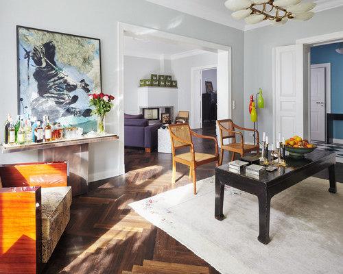 Inspiration Für Große, Fernseherlose, Offene Eklektische Wohnzimmer Ohne  Kamin Mit Hausbar, Grauer Wandfarbe