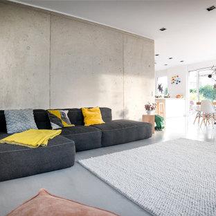 Offenes Modernes Wohnzimmer mit grauer Wandfarbe, Betonboden und grauem Boden in Sonstige