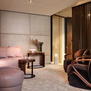 Diseño de sala de estar cerrada, contemporánea, pequeña, sin chimenea y televisor, con moqueta y paredes grises