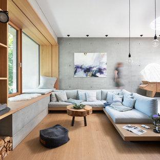 Geräumiges, Offenes Skandinavisches Wohnzimmer mit grauer Wandfarbe, hellem Holzboden und beigem Boden in München