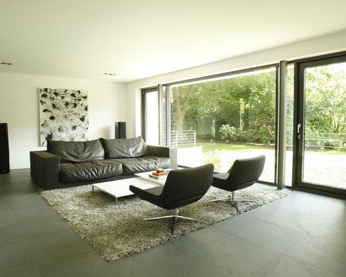 modernes wohnen mit schieferboden ideen design bilder. Black Bedroom Furniture Sets. Home Design Ideas