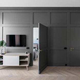 Wohnzimmer skandinavisch mit eingearbeiteter Wandtür