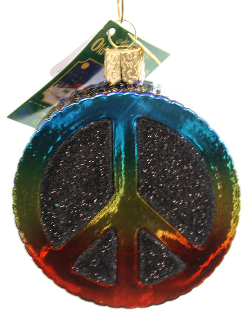 Old World Christmas Peace Sign Glass Ornament Contemporary