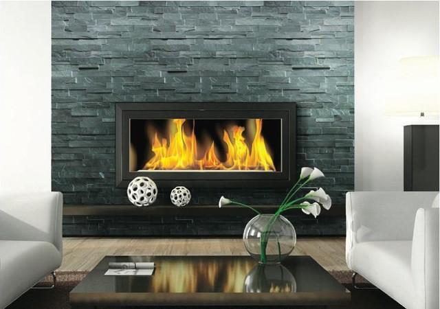Fireplace Ledgestone Stacked Stone Slate Traditional