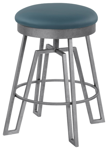 """Empire Swivel Barstool, Williamsburg Blue Faux Leather and Silver Bisque, 26"""""""