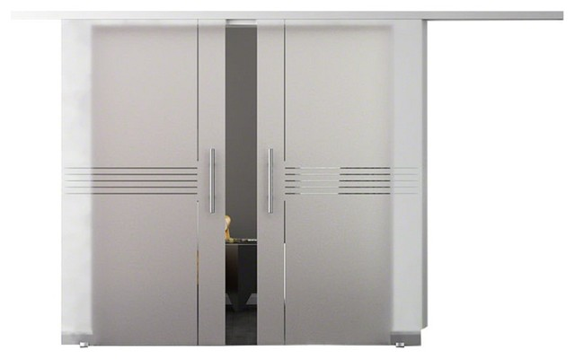 Double Sliding Gl Barn Door Frosted