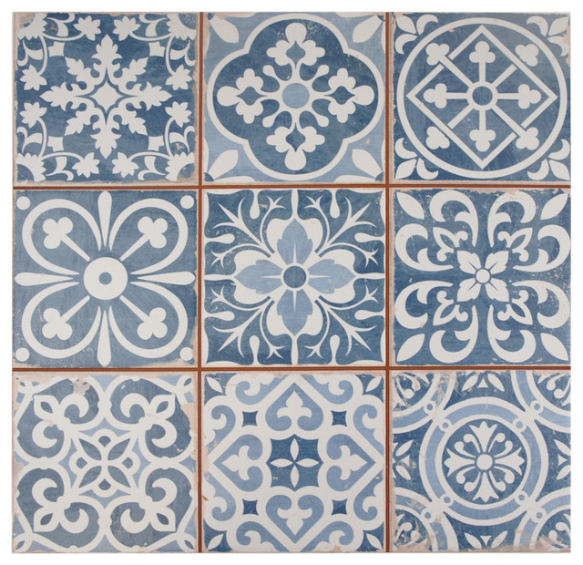 "13""x13"" Isla Floor/wall Tiles, Set Of 10, Blue."