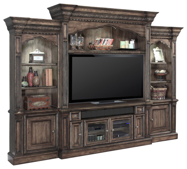 Aria Entertainment Center 2 Piece Wall Unit, Smoked Pecan Finish - Traditional - Entertainment ...