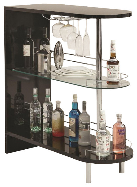 coaster bar table with glass shelf in black