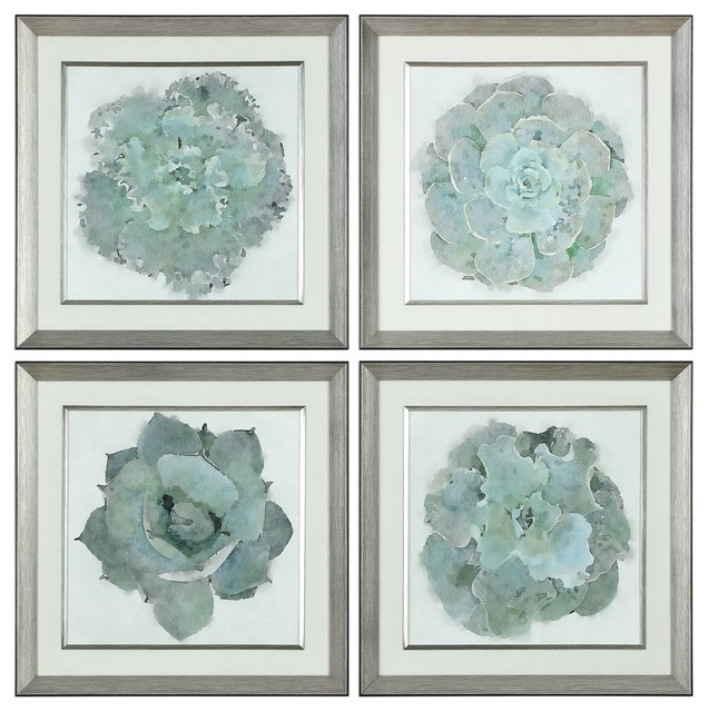 Natural Beauties Botanical Framed Prints, 4-Piece Set.