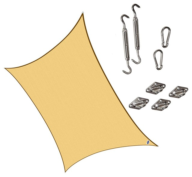 "Cool Area Rectangle 9&x27;10""x13&x27; Sun Shade Sail With Steel Hardware Kit, Sand."