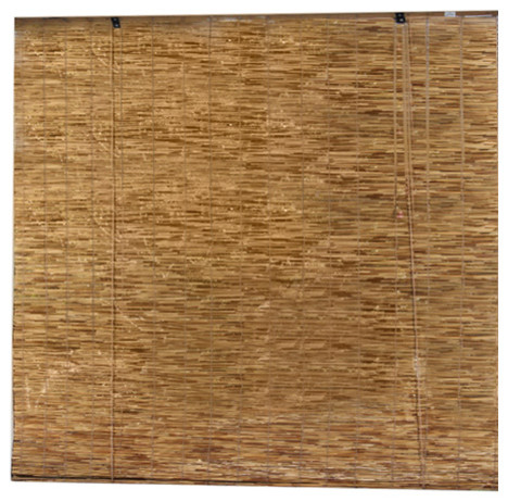 """Radiance Light Filtering Peeled And Polished Reed Blind, Cocoa 48""""x72""""."""