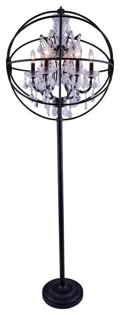 1130 Geneva Collection Floor Lamp, Dark Bronze, Crystal/clear.