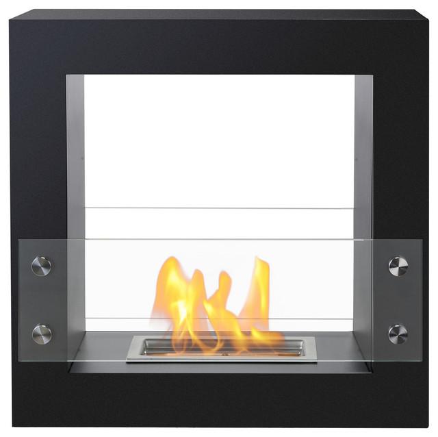 Lisbon freestanding ventless ethanol fireplace modern for Ventless modern fireplace