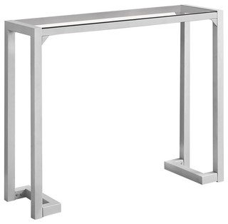 Accent Table, Silver and Tempered Glass Hall Console