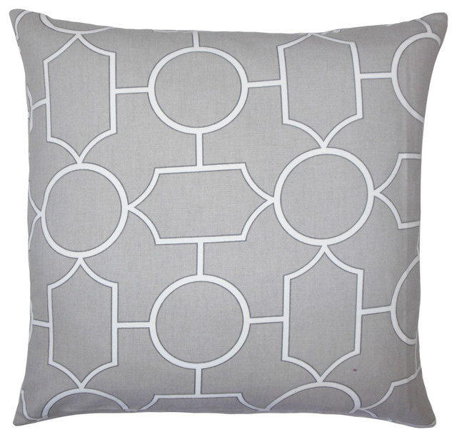 The Pillow Collection Kostya Geometric Bedding Sham Grey Queen//20 x 30