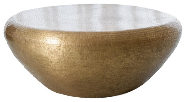 Hammered Brass Drum Round Coffee Table Large Minimalist Modern Gold 47 Contemporary Coffee Tables By My Swanky Home