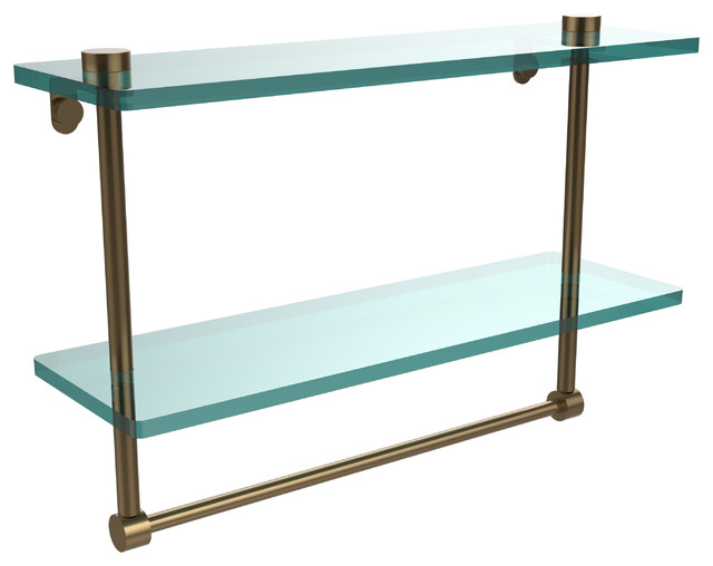 "16"" Double Glass Shelf With Towel Bar, Brushed Bronze"