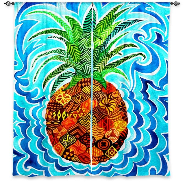 DiaNoche Unlined Window Curtains By Rachel Brown Psychedelic Pineapple  Tropical Curtains
