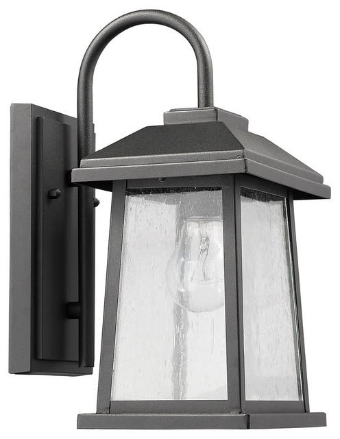 Carina Textured Black Outdoor Wall Sconce Glass Lantern Light