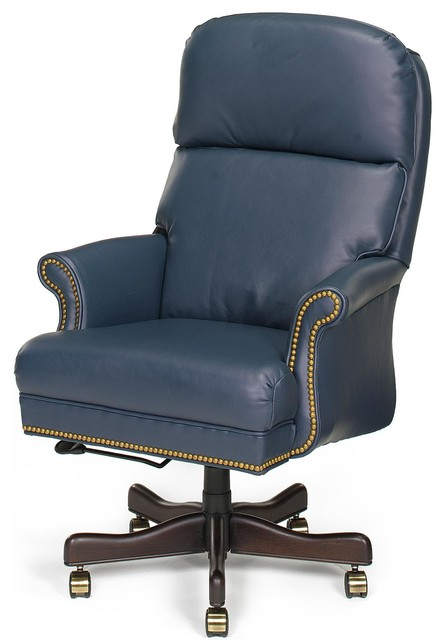 Chair Executive Wood Leather Removable Traditional