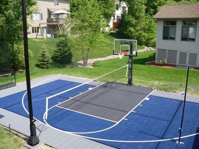 Asphalt Basketball Court In Backyard