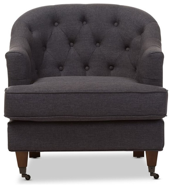 Jilian Upholstered Walnut Wood Button Tufted Armchair, Dark Gray Fabric
