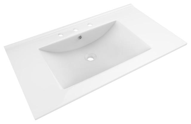 "35.5""x19.75"" Ceramic Top, White Color For 8"" O.c. Faucet."