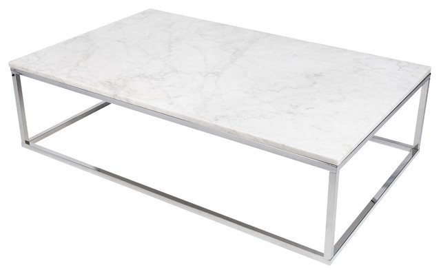 Attirant Estelle Marble Coffee Table, White, Chrome Frame