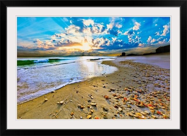 "LARGE BLUE SEASCAPE SEA SUNSET CANVAS PICTURE 44/""x20/"""