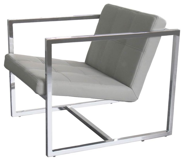 Chrome Frame Chair Gray Contemporary Armchairs And
