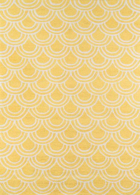 """Geo, Hand-Hooked Rug, Yellow, 2&x27;3""""x7&x27;6"""" Runner."""