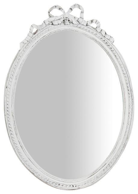 Bow Detail Wall Mirror, Antique White, 35x50 cm