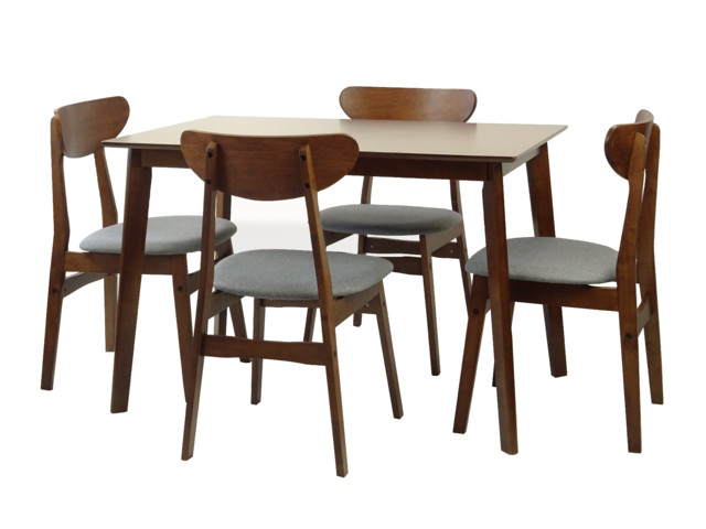 Solid Wood 5-Piece Dining Set, Medium Brown, Yumiko Side Chairs.