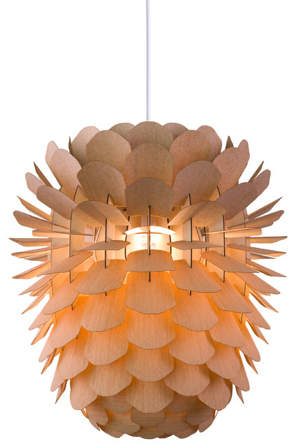 Zappy Oak Pinecone Pendant Lamp, Small Scandinavian Pendant Lighting
