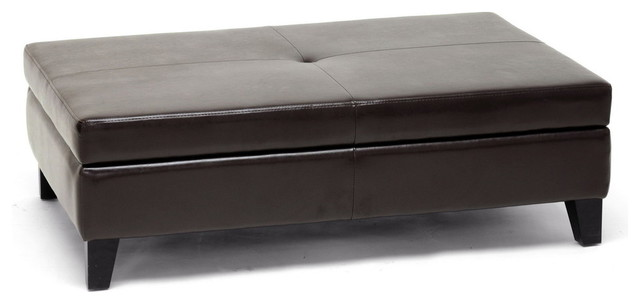 Baxton Studio Sandusky Dark Brown Full Leather Cocktail Ottoman.
