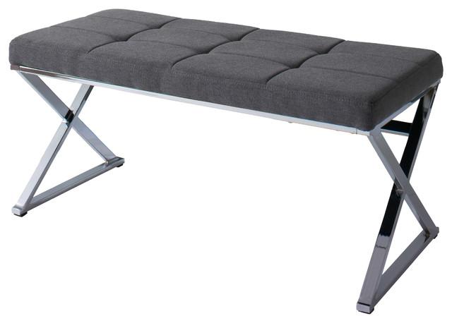 Huntington Modern Gray Fabric Bench With X Shape Chrome Base.