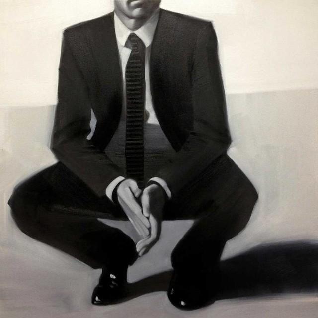 "Man In Black Fine Art Giant Canvas Print, Black, Beige, 54""x54""."