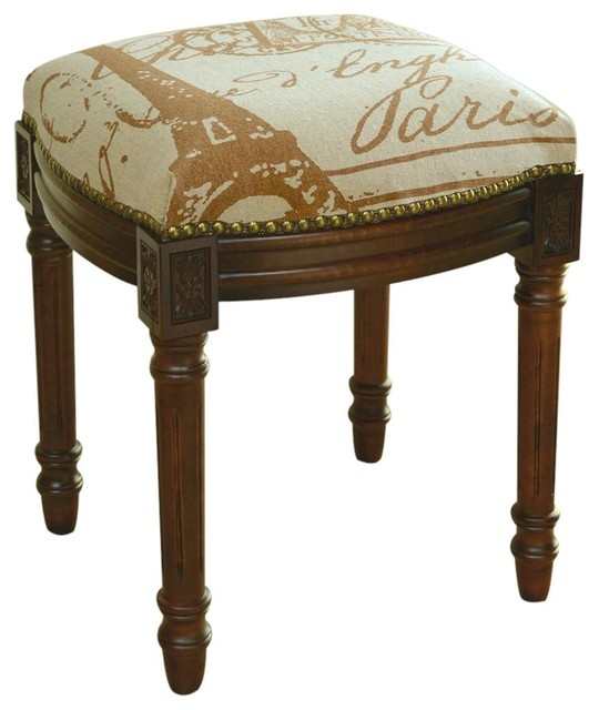 Vanity Stool Paris Post Stamps Antique Traditional