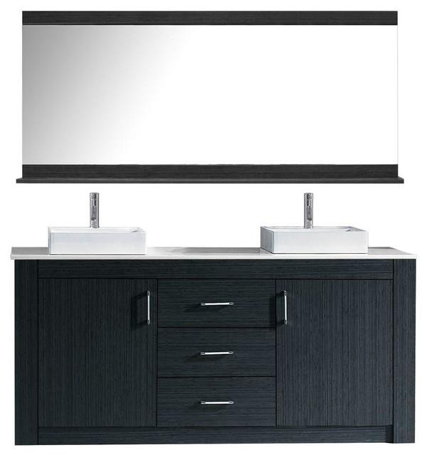 "Tavian 60"" Double Bathroom Vanity Cabinet Set, Gray."