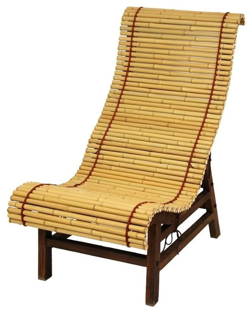 Curved Japanese Bamboo Lounge Chair Asian Outdoor Chaise Lounges