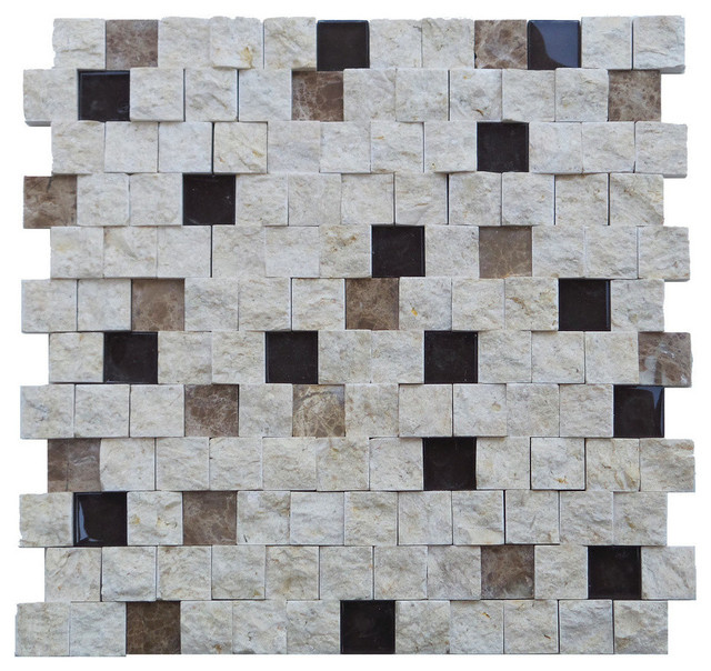 11 5 X11 Avenue Grid Split Stone Tiles Set Of Contemporary Wall And Floor Tile By Mulia Inc