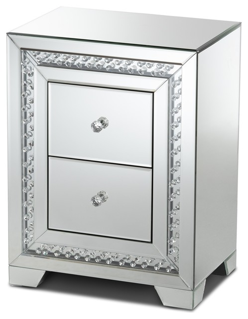 Mirrored Bedside Table With Drawers: Modern Glamour Style Mirrored Two Drawer Nightstand