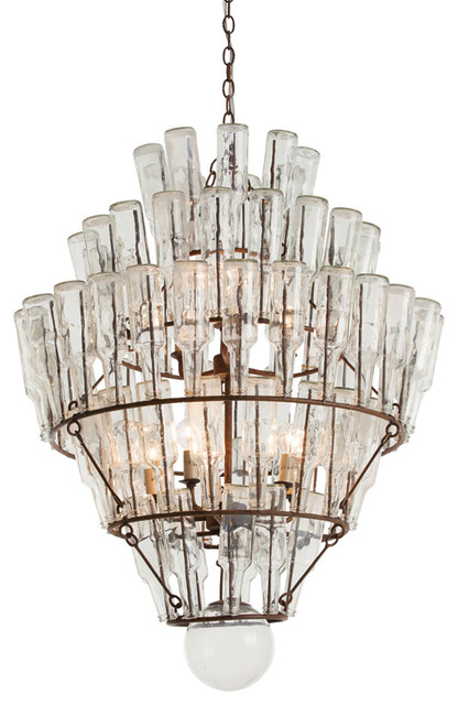 Kathy Kuo Home Canton Rustic Iron Vintage Glass Bottle Chandelier – Bottle Chandelier