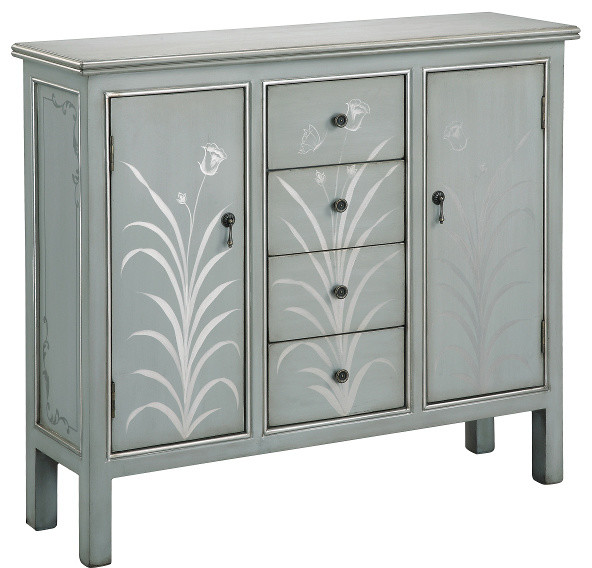 Selina Silver Blue Grey Accent Cabinet - Accent Chests And Cabinets | Houzz